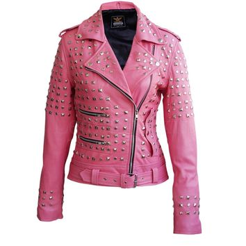 Women Studded Spiked Leather Jacket Pink