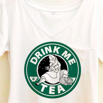 ALICE IN WONDERLAND SHIRT | DRINK ME TEA STARBUCKS | DISNEY