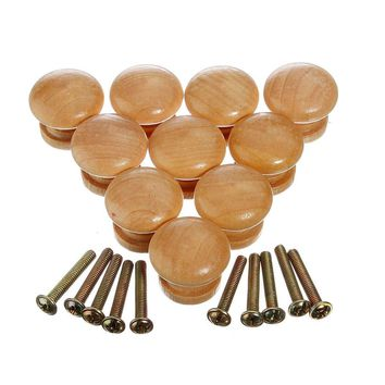 High Quality 10pcs 25mm Natural Wood Wooden Cabinet Knob Drawer Wardrobe Door Pull Handle