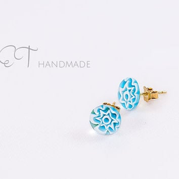 Millefiori turquoise stud earrings-Murano glass and Sterling Silver flower ear studs-italian artisan handmade earrings-basic everyday studs