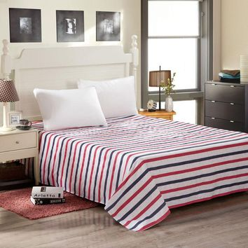 Monily Striped 100% Cotton Bed Sheets Home Textile Bedding Coverlet Flat Sheet Queen King Size Bed Sheet Soft Warm Bedsheets