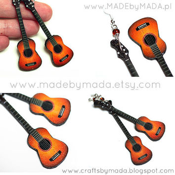 Guitar Earrings Long dangle gift for musician music by MADEbyMADA