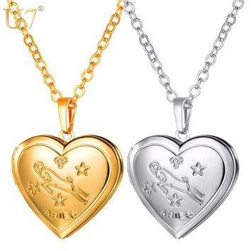 Locket Necklaces-Zodiac Heart Pendant