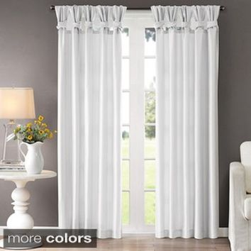 "Madison Park Natalie Twisted Tab Curtain Panel,Whtie,50"" x 95"""