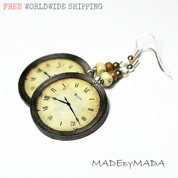 Clock Earrings Earth tones Brown Ecru Beige, Free Shipping, 2-sided Medium size 3cm Ø, gift for her under 20