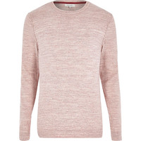 River Island MensPink marl knitted crew neck sweater