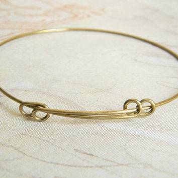 Raw Brass Adjustable Bangle Bracelet, Expandable Bracelet, Charm Bracelet 60mm- 1 pc.