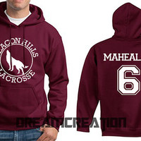 MAHEALANI 6 Beacon Hills Lacrosse Wolf 6 Number  Teen Unisex Hoodie - Tumblr Text - Part 3
