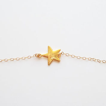 Star necklace, Sideways star necklace, Gold star necklace, Dainty star necklace, small star necklace, dainty gold jewelry