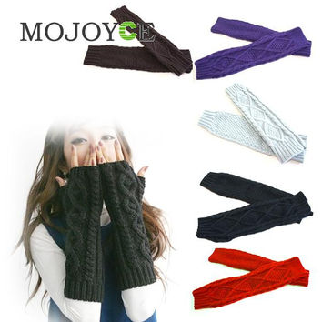 Women Long Arm Wristband Fashion Knitting Crochet Fingerless Wristlet Glove  SN9