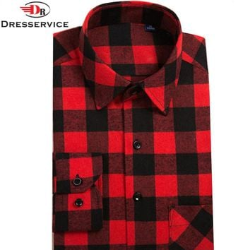 DRESSERVICE 2017 Hot New Men Plaid Long-sleeved Casual Shirts Flannel Slim Fit Chemise Homme Camisa Social Masculina Fashion