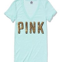 Sequin V-Neck Tee - Victorias Secret PINK - Victoria's Secret