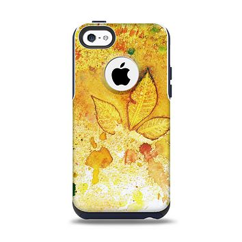 The Yellow Leaf-Imprinted Paint Splatter Apple iPhone 5c Otterbox Commuter Case Skin Set