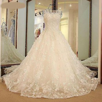 Halloween wedding gown with Train Backless Ball Gown Beaded Puffy Lace Wedding Dresses Ivory Pink Blue