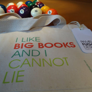 I Like Big Books And I Cannot Lie - Regular Custom Cotton Canvas Front Pocket Carryall Tote Bag - FREE SHIPPING