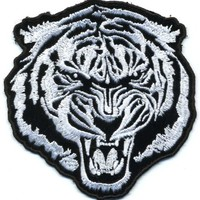 """Embroidered Iron On Patch - White Baron Tiger 4"""" Biker Patch"""