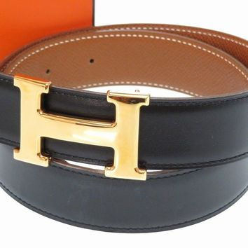 AUTHENTIC HERMES H buckle Constancebelt Black/Gold Bock Scarf/Courchevel 0130
