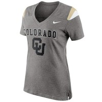 Nike Colorado Buffaloes Ladies Fan Top V-Neck T-Shirt - Ash