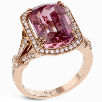 Simon G. Watermelon Tourmaline Diamond Halo Ring