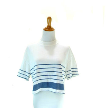Vintage 80s Oversized Shirt / Striped White Crop Top / Button Back Top / Nautical Shirt S M L