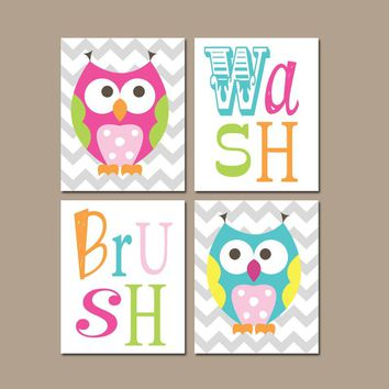 OWL BATHROOM, Bath Owl Theme, Canvas or Prints, Whimsical Owls Theme, Sister Brother, Shared Bath, Wash Brush Rules, Set of 4 Decor Pictures