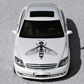 CUTE FUNNY BEE INSECT WINGS DESIGN HOOD CAR VINYL STICKER DECALS ART SV1171