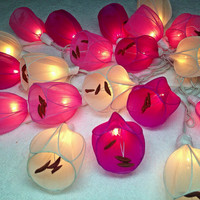 20 Pink Tone Tulip Flower Fairy String Lights Wedding Party Floral Home Decor