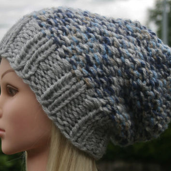 Hand Knit Hat- Women's- Teen- slouchy- beanie- winter hat- chunky- women accessories