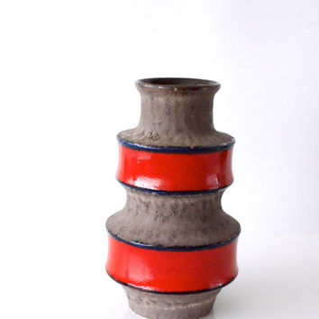 WEST GERMAN POTTERY Vase, Scheurich, 267-25, Red Blue Grey Brown, Fat Lava ,1970s, Man Cave, Nautical Decor, Retro