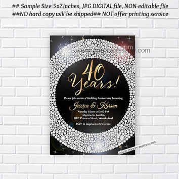 Anniversary Invitation, Wedding Anniversary Invitation 30th 40th 50th 60th 70th glam black glitter design  - card 322