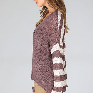 Brown-Ivory-Striped-Button-Back-Sweater