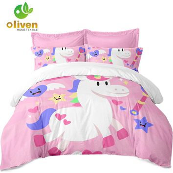 Cute Unicorn Bedding Sets Colorful Animal Cartoon Print Boys Girls Kids Duvet Cover Sets Single Double King Queen bedclothes A40