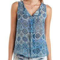 Crochet-Back Medallion Print Sleeveless Top