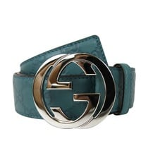Gucci Men's Teal Interlocking G Buckle Belt 100cm
