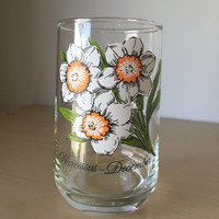 Vintage Drinking Glass, December Narcissus Flower of the Month Series, White and Orange Floral Glass Cup, Birthday Gift
