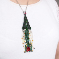 Christmas tree necklace, bohemian fringe necklace, macrame necklace, tassel necklace, unique beadwork, holiday gift idea, winter trends, fir