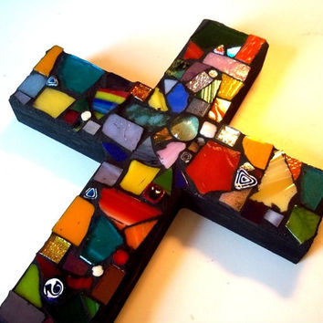 Mosaic Glass Cross // Stained Glass // Wall Art // Wall Hanging // Home Decor // Bright // Colorful // Gift Guide // Mosaic Scrap Art