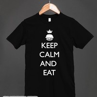 Keep Calm and Eat-Unisex Black T-Shirt