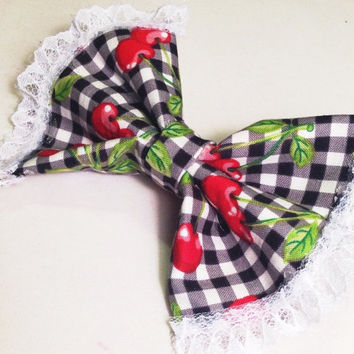Custom made Bow/Sweet Lolita Hair Bow/Cherry Gingham Fabric Bow/ Handmade Bow with Lace on French Barrette/OTHER fabrics/Custom Made Bows