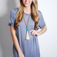 School Girl Tee Dress -Grey