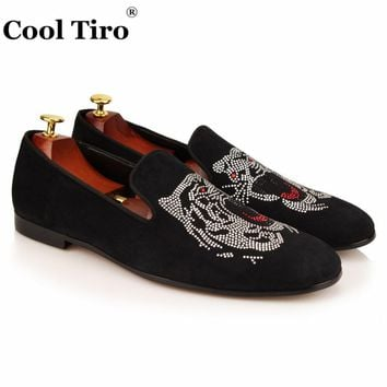 COOL TIRO leisure nightclub Striped Hot drilling tiger head smoking Slippers Loafers