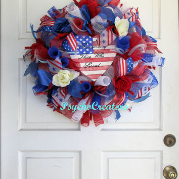 Memorial Day Patriotic Deco Mesh Wreath – Veterans Wreath -  Red White Blue Wreath – July 4th Wreath