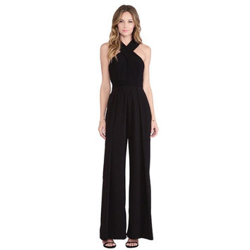 Women's apparel sexy overalls wide-legged pants trousers suspenders = 1838458308