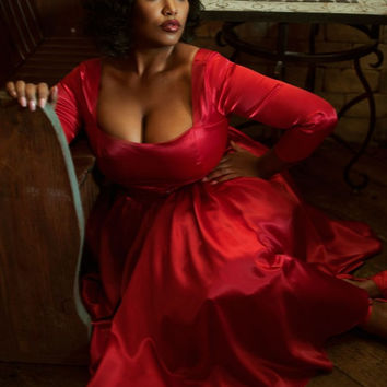 Pinup Couture Plus Size Margaret Dress in Red Satin