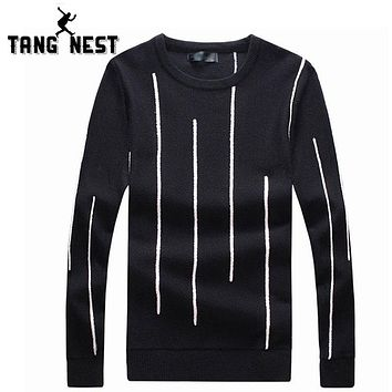 Autumn Striped Fashion Men Sweater O-Neck Pull Home Casual Sweaters