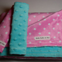 Double Minky Baby Girl Set - Light Pink Polka Dot & Tiffany Blue