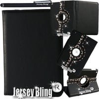Jersey Bling® iPad Air (iPad 5) GOLD LEOPARD Case with Crystals, Rhinestones Faux Leather Folio w/Built-in Stand & FREE Stylus