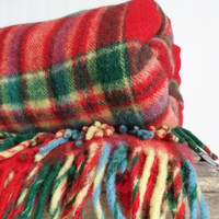 Vintage Wool red plaid blanket Throw Rustic Log cabin Decor Wool Stadium Camping Tartan Troy Robe