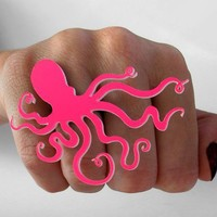 An Octopus Love Affair Ring Neon Hot Pink by CABfayre on Etsy