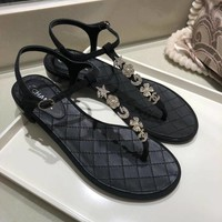 Chanel Womens Trending Leather pearls Beach strappy Sandals Slipper
